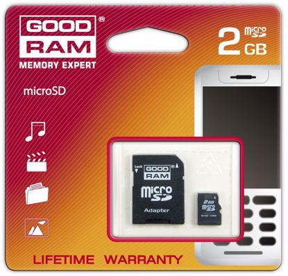 Obrazek Goodram Micro SD 2 GB z adapterem do SD